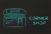 Funny Illustration Of Small Corner Shop