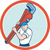Plumber Carrying Monkey Wrench Circle Cartoon