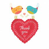 Thank You Card With Birds