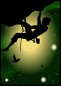 Silhouette Of Climber At The Beautiful Starry Sky Background