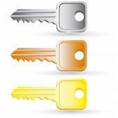 Set of house key icons. Vector illustration.