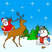 santa claus rides on deer and snowman
