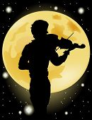 Silhouette Of Violinist On The Background Of The Full Moon