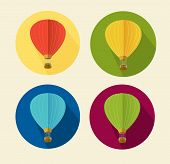 Vector air ballon icon set flat