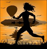 Silhouette Of A Running Athlete On The Background Of Mountains And Flying Balloons