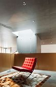 Modern living room, interior house, red armchair