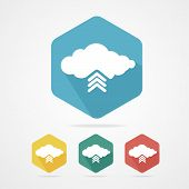 Vector Upload from cloud icon set.