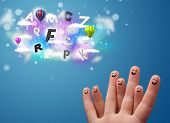 Happy cheerful smiley fingers looking at colorful magical clouds and balloons illustration