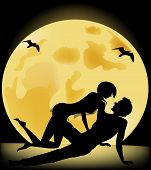 Silhouette Of Lovers On A Background Of The Full Moon