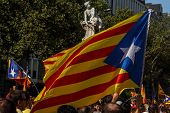 Barcelona, Spain - Sept. 11: People Manifesting Ingependence Of Scotlandon And Catalonia At The Strr