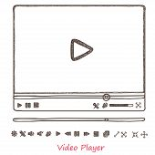 Hand draw sketch doodle video player