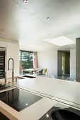 Modern house, interior, domestic kitchen, concrete wall