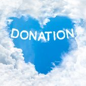 Donation Word On Blue Sky