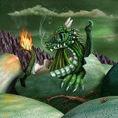 foto of arthurian  - Cute baby fire breathing dragon hatching from a green egg at night - JPG