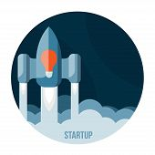 Space rocket flying in sky, startup