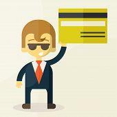 illustration of man showing credit card