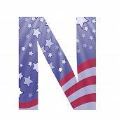 American Flag Letter N