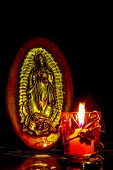 Virgen De Guadalupe At The Llight Of A Candle