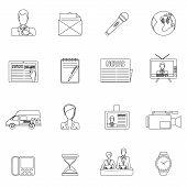 News icons set outline