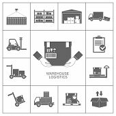 stock photo of lift truck  - Warehouse set of storage and logistic black icons vector illustration - JPG