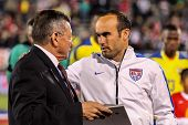 HARTFORD - OCTOBER 10: Landon Donovan (R) on Rentschler Field stadium before soccer match between US Men`s National Team vs Ecuador, on October 10, 2014, in Rentschler Field stadium, Hartford, USA.