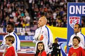 HARTFORD - OCTOBER 10: Landon Donovan and  Brad Guzan  on stadium before soccer match between US Men`s National Team vs Ecuador, on October 10, 2014, in Rentschler Field stadium, Hartford, USA.