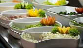 tray of assorted food for salad buffet in local market The salad