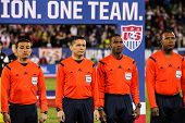 HARTFORD - OCTOBER 10: Referees on Rentschler Field stadium before socce match between US Men`s National Team vs Ecuador, on October 10, 2014, in Rentschler Field stadium, Hartford, USA.