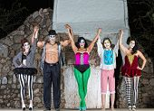 Happy Cirque Clowns On Stage