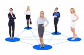 Business Concept - Young Business Women Network Isolated On White