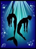 Mermaid Silhouette And Men In The Underwater World