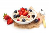 stock photo of fruit bowl  - Oatmeal and fresh fruits isolated on white background - JPG