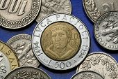Coins of Italy. Italian Renaissance mathematician Luca Pacioli depicted in the old Italian 500 lira coin.