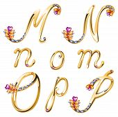 Bronze Alphabet With Colored Gems Letters M,n,o,p