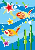 Underwater fishes - vector illustration
