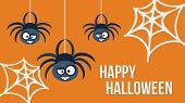 Three Hanging Spiders. Vector Illustration.