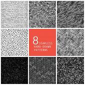 8 seamless hand-drawn patterns