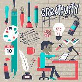 Creativity success strategy plan, Inspiration modern design concept  template workflow layout.