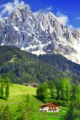 image of italian alps  - breathtaking nature of Dolomites - JPG
