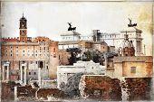 Roman forums -  vintage picture