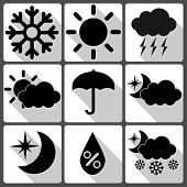 Weather Vector Icons On White Background With Shadows