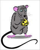 Mouse And Cheese Cartoon Vector Illustration