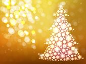 Gold Background With Christmas Tree. Defocus New Year Card