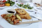 Tempura Fish And Vegetables With Soy Sauce