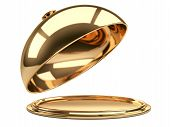 Gold Restaurant Cloche With Open Lid