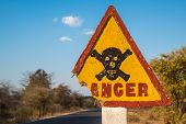 Danger Road Sign With Skull And Crossbones