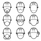 stock photo of protective eyewear  - Vector set of human protective work wear icons - JPG