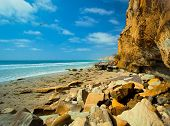 La Jolla Shores Rocky Coastline Beach, San Diego California USA