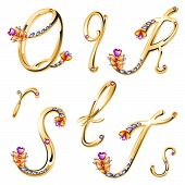 Bronze Alphabet With Colored Gems Letters Q,r,s,t