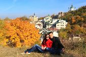 young couple in autumn kiev